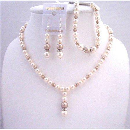 BRD569  Swarovski Ivory And Champagne Pearls Jewelry Sets w/ Bracelet Diamond