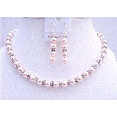 BRD696  Handmade Bridal Custom Pink Pearls Jewelry Set w/ Silver Rondells Sparkling Diamond