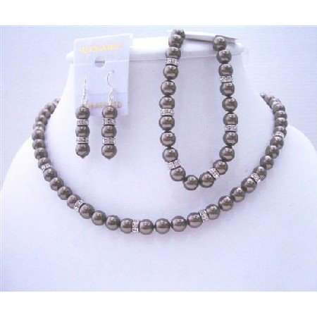 BRD501  Necklace Earrings Bracelet Brown Espresso Pearls Bridemaides Jewelry