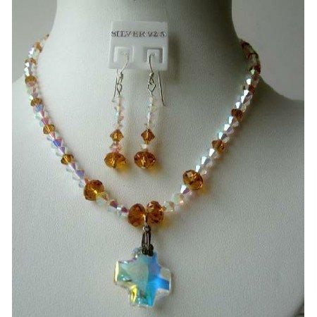 NSC325  Genuine Crystals Jewelry Formal Party Jewelry Swarovski Topaz & AB Crystals Necklace