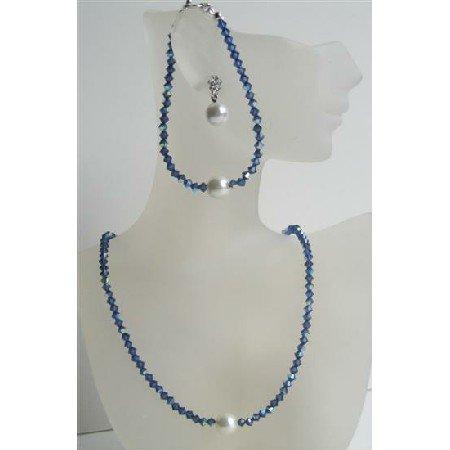 NSC427  Handcrafted Swarovski Crystals Jewelry Dark AB Sapphire Crystals w/ Pearls Stud Set