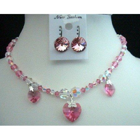 NSC221  Handcrafted AB Crystals & Rose AB Genuine Swarovski Crystals Heart Pendant Necklace Set