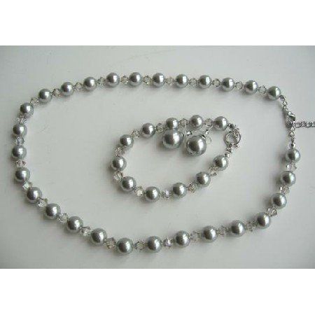 NSC377 Genuine Pearls & Clear Crystals Jewelry Necklace Earrings Bracelet Complete Set