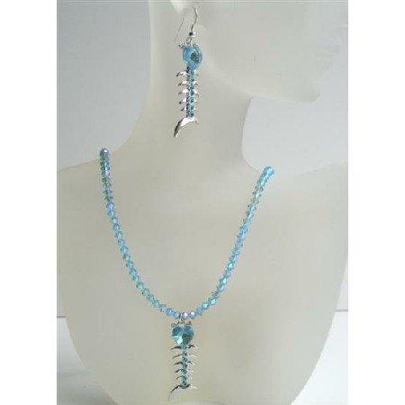 NSC422  Aquamarine Swarovski AB Aquamarine Crystals Jewelry With Heart Fish Pendant