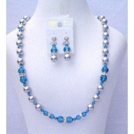 NSC392 Genuine Crystals & Pearls Jewelry Swarovski Indicolite Crystals & Grey Pearls Necklace Set