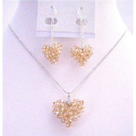 NSC668  Sparkling Genuine Swarovski Golden Shadow Puffy Crystals Heart Necklace