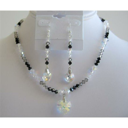 NSC594  Sexy Seduction TriColor Jet AB & Black Diamond Crystals Heart Necklace
