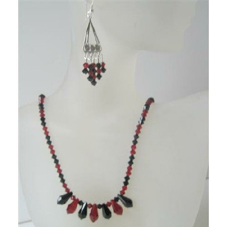 NSC468  Handcrafted Swarovski Tear Drop Jet & Siam Red Crystals Necklace Earrings Set