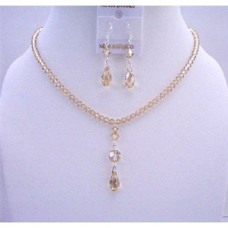 NSC584  AB Golden Shadow Swarovski Crystals Necklace w/ AB Briollette Drop Down