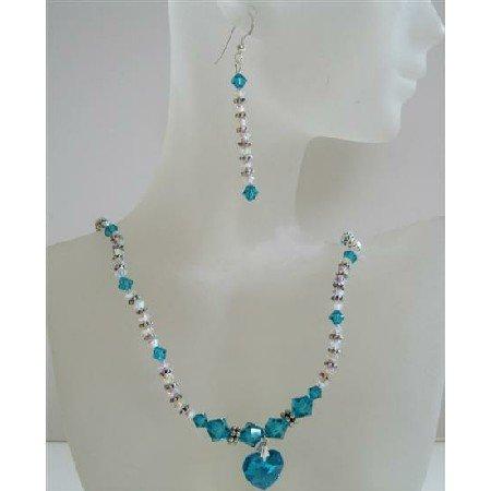 NSC435 Swarovski Crystal Blue Zircon & AB 2X w/ Blue Zircon Heart Pendant Jewelry Set