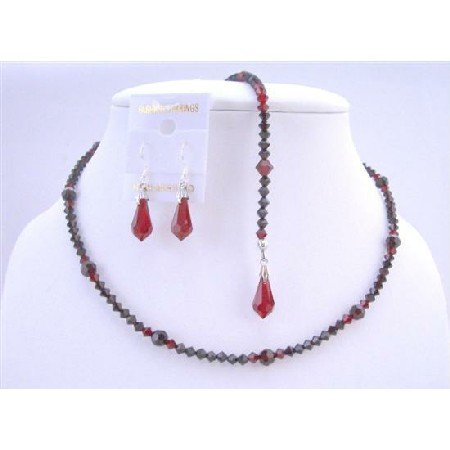 NSC604 Back Drop Down Necklace In Swarovski Siam Red Garnet Crystals Back Drop Down Necklace Set