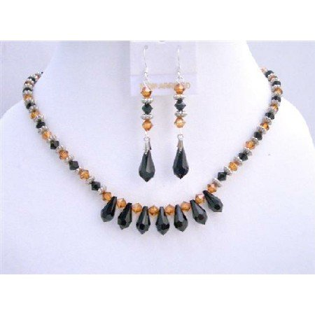 NSC599  Copper And Jet Black Swarovski Crystals 5mm Jewelry Set w/ Bali Silver Spacer
