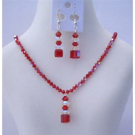 NSC458  Swarovski AB Siam Red Crystal w/ Drop AB Crystals Spacer Necklace Set