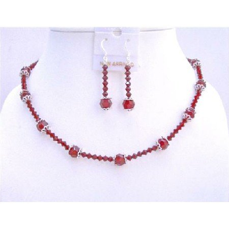 NSC598  Custom Your Jewelry In Swarovski Red Crystals w/ Bali Cap Beads Necklace Set