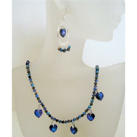 NSC434  Swarovski Crystals Handmade Jewelry w/ Heart Dangling And Chandelier