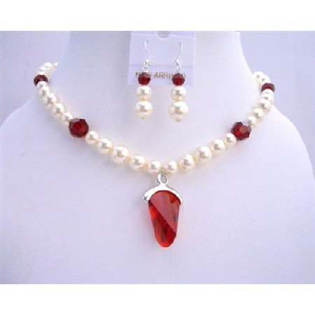 BRD669 Cream Pearls Siam Red Crystals w/ Siam Red Crystals Pendant Wedding Bridal Jewelry Se