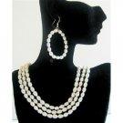 BRD584  Rice Freshwater Pearls 3 Stranded Necklace Set Bridal Bridemaids Wedding Jewelry Set