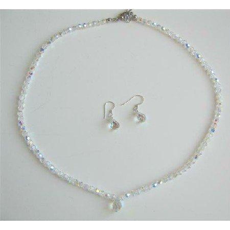 BRD604  Swarovski AB Round Crystals Bridal Jewelry Set Dainty Genuine Swarovski