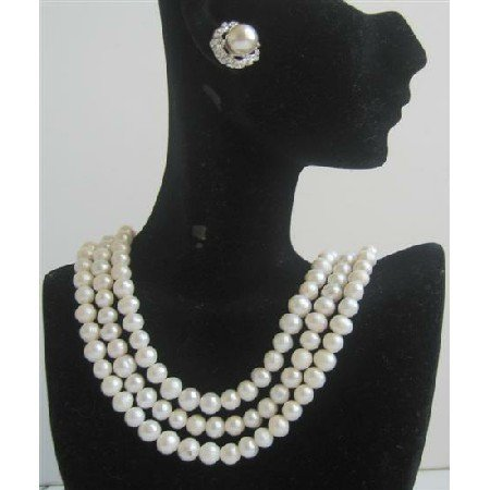 BRD585  Potato Shaped Freswater Pearls 3 Stranded Necklace Set Bridal Wedding Jewelry Set