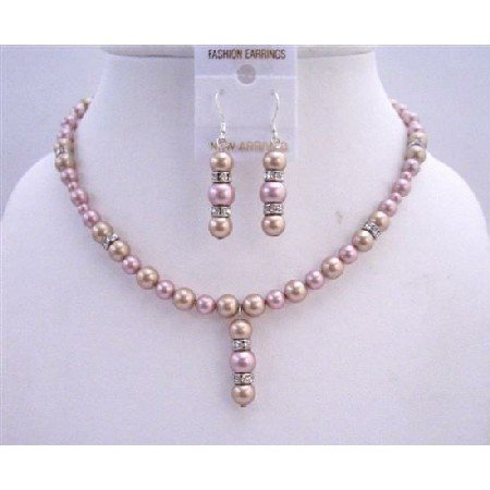 BRD666  Two Shaded Pearls Swarovski Pearls Bridal Jewelry Champagne And Rose w/ Silver Rondells