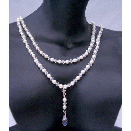 BRD378  Genuine Swarovski Briolette Pendant Double Strand Necklace