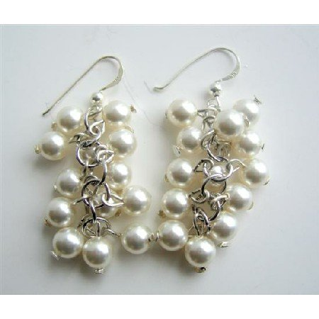ERC346  White Pearls 8mm Bunches Earrings Sterling Silver Pearls Earrings
