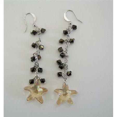 ERC254  Golden Shadow Star Swarovski Crystals w/ AB Dorado Crystals Chandelier Earrings