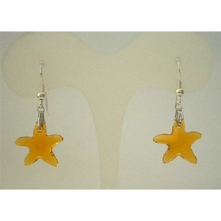 ERC276  Topaz Starfish Crystals Jewelry Sterling Silver Earrings