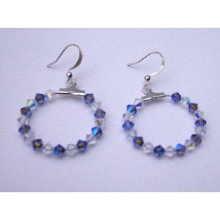 ERC190  Sapphire Swarovski Crystals AB Crystals Hoop Earrings Genuine Swarovski Crystals