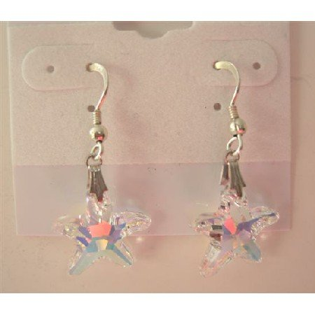 ERC290  AB Crystals Starfish Earrings 15mm Sterling Silver AB Star Earrings