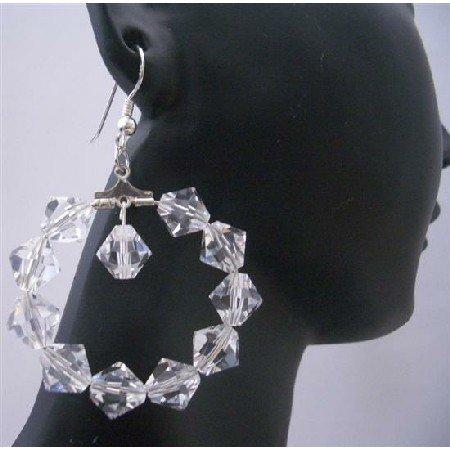ERC300  Clear Crystals Hoop Earrings Genuine Swarovsk Clear Crystals Sterling Silver