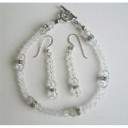 TB415  Clear Swarovski Irridscent Crystals Bridal Bracelet & Earrings Set w/ Genuine Swarovski
