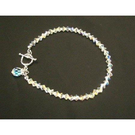 TB408  Swarovski AB Crystals Teardrop Bridal Bracelet Handcrafted Custom Bracelet