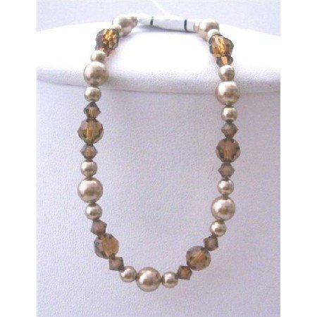 TB399  Bridemaides Bronze Pearls Brown Crystals Bracelet Swarovski Bronze Pearls Smoked Topaz