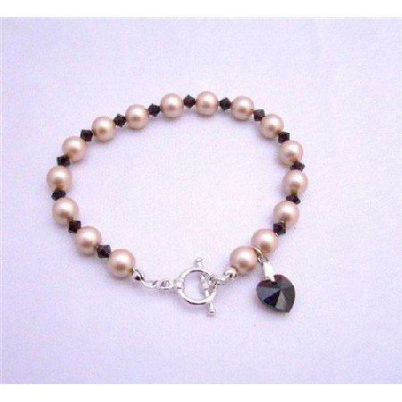 TB620  Champagne Pearls Swarovski Garnet Crystals w/ Siam Red Heart Dangling Bracelet