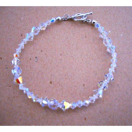 TB394  Bridal Bridemaides Handcrafted Irredescent Crystals Swarovski AB Crystals Bracelets