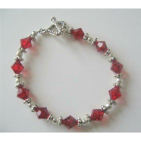 TB369  Sterling Silver Siam Red Swarovski Crystals Bracelet w/ Silver Beads & Daisy Spacer