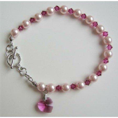 TB632  Rose Pink Pearls Fuschia Swarovski Crystals Gorgeous Bracelet w/ Pink Heart Dangling Bracelet