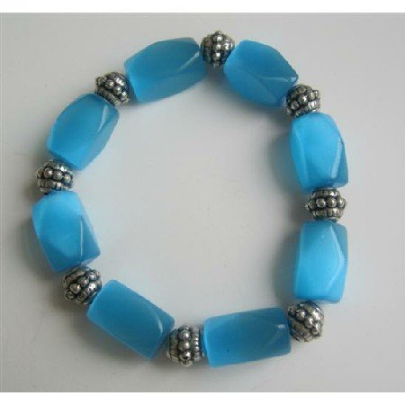 TB569  Barrel Blue Faceted Cate Eye Stretchable Bracelet w/ Daisy Spacing Beads Bracelet