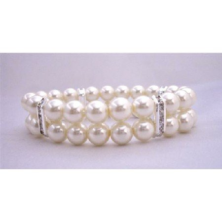 TB323  Double Strands Cream Pearls Stretchable Bracelet With Silver Rondells
