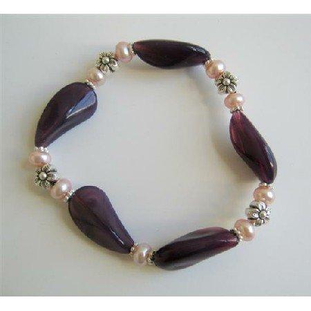 TB604  Amethyst Glass Bead Bracelet w/ Freshwater Pearls & Bali Silver Spacer Stretchable Bracelet