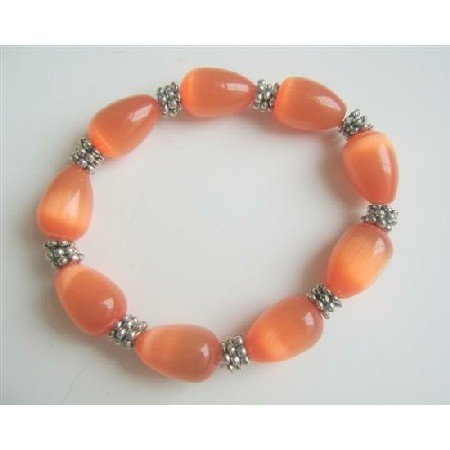 TB567  Orange Teardrop Soothing Stretchable Bracelet Light & Dark Shade Orange Cat Eye