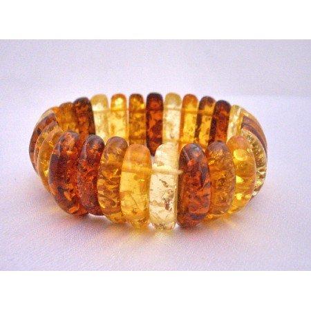 TB587  Amber Natural Color Stretchable Bracelet Simulated Amber Oval Beads Stretchable Bracelet
