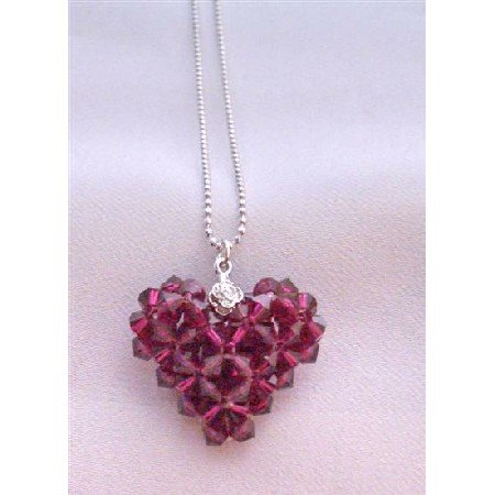 NSC676 Adorable Ruby Swarovski Crystals Puffy Heart Pendant Neckalce