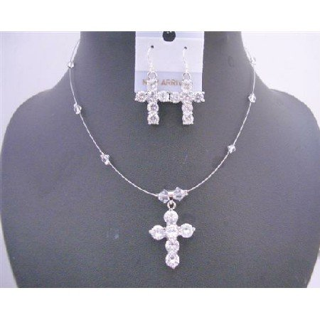 NSC579  Clear Crystals Cross Pendant Necklace Set w/ Cross Earrings Sterling Silver Wire Jewelry Set