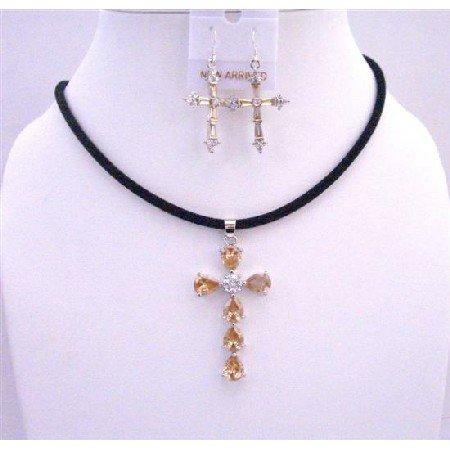 NSC574  Golden Shadow Cross Pendant Necklace Set w/ Cross Earrings Jewlery Set
