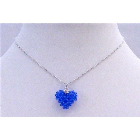 NSC674  Sapphire Crystals Puffy Heart Handmade Pendant Necklace