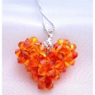 NSC679  Fire Opal Puffy Heart Pendant Swarovski Crystals Puffy Heart Pendant Necklace