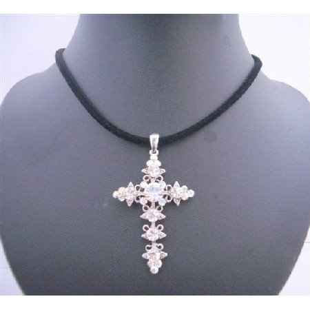 NSC572  Velvet Black Chord With AB Crystals Cross Pendant Necklace