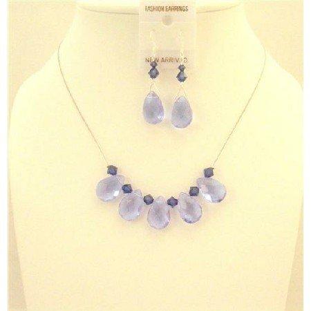 NSC582  Purple Velvet Swarovski Crystals And Purple Glass Beads Bridal Bridemaids Jewelry Set